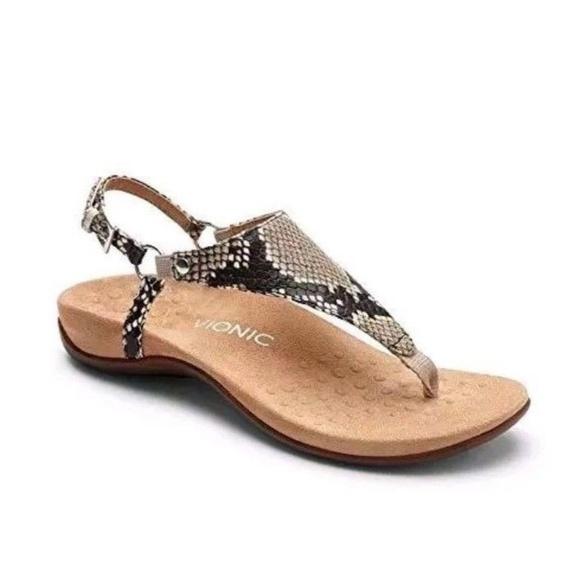 2d8d0fff61787 Vionic T Strap Snakeskin Kirra Womens Sandal 10 M